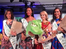 Miss Earth South Africa 2016 Nozipho Magagula (second from left) and her runners-up Miss Air Jeanine Keet, Miss Water Elne Van Coller and Miss Fire Mireesha Narsai
