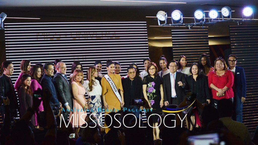 Miss Universe 2015 Pia Wurtzbach, Miss Universe Organization's Paula Shugart and members of the host organizing committee at the 65th Miss Universe kick-off event held December 11 at S Maison in Conrad Hotel, Pasay City. (Missosology.Org)