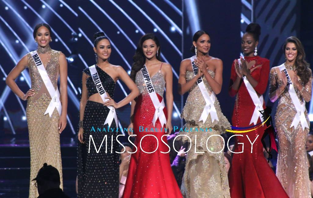 Top 6 Colombia – Andrea Tovar France – Iris Mittenaere Haiti – Raquel Pélissier Kenya – Mary Esther Were Philippines – Maxine Medina Thailand – Chalita Suansane