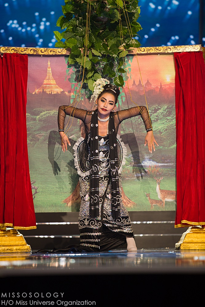 Htet Htet Htun, Miss Myanmar 2016 debuts her National Costume on stage at the Mall of Asia Arena on Thursday, January 25, 2017.  The contestants have been touring, filming, rehearsing and preparing to compete for the Miss Universe crown in the Philippines.  Tune in to the FOX telecast at 7:00 PM ET live/PT tape-delayed on Sunday, January 29, live from the Philippines to see who will become Miss Universe. HO/The Miss Universe Organization