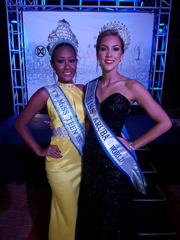 Miss Aruba World 2017 Anouk Eman (right) with Miss Teen Aruba 2016 Jaimerlee de Meza