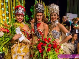 Miss International Cook Islands 2017 Silas Tuaputa, Miss Cook Islands 2017 Alanna Smith, and Miss Earth Cook Islands 2017 Mona Taio