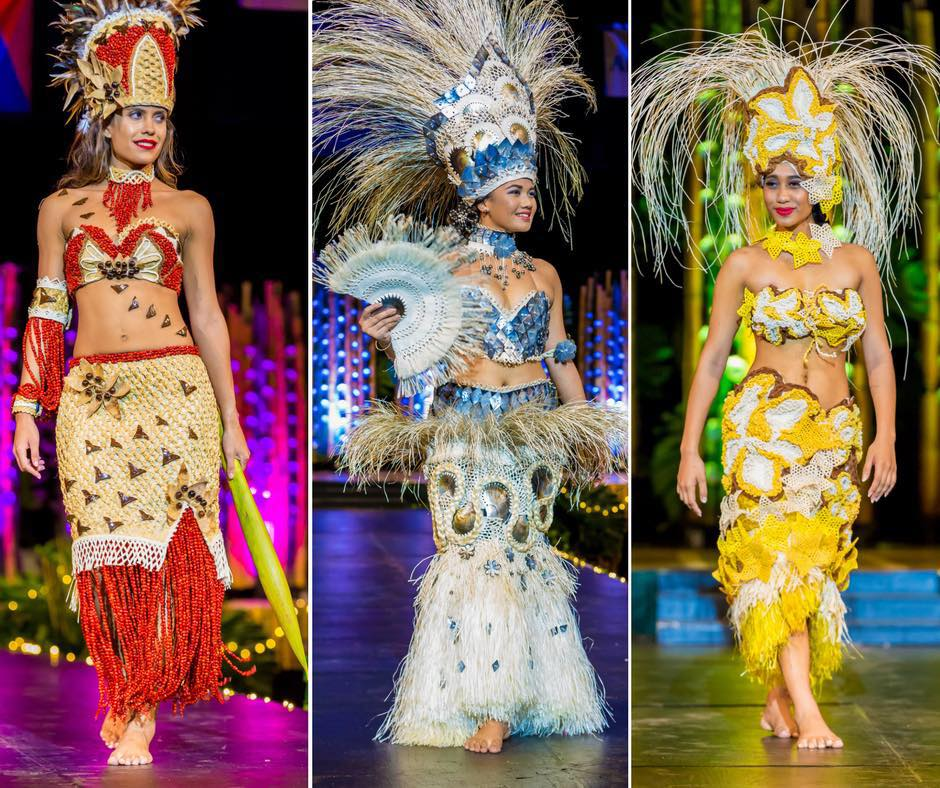 Miss Cook Islands 2017 Alanna Smith, Miss Earth Cook Islands 2017 Mona Taio, and Miss International Cook Islands 2017 Silas Tuaputa