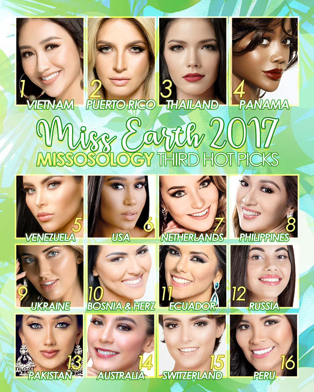 Miss Earth 2017 Third Hot Picks by Missosology