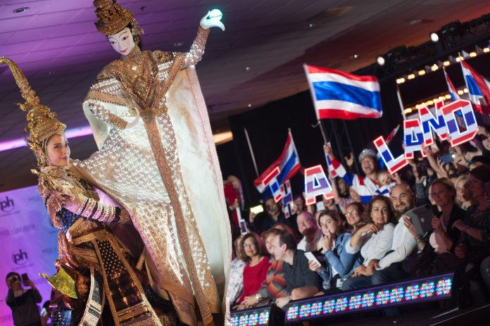Maria Poonlertlarp, Miss Thailand 2017 debuts her National Costume on stage at Planet Hollywood Resort & Casino on November 18, 2017. The National Costume Show is an international tradition where contestants display an authentic costume of choice that best represents the culture of their home country. The Miss Universe contestants are touring, filming, rehearsing and preparing to compete for the Miss Universe crown in Las Vegas, NV. Tune in to the FOX telecast at 7:00 PM ET live/PT tape-delayed on Sunday, November 26, live from the AXIS at Planet Hollywood Resort & Casino in Las Vegas to see who will become the next Miss Universe. HO/The Miss Universe Organization
