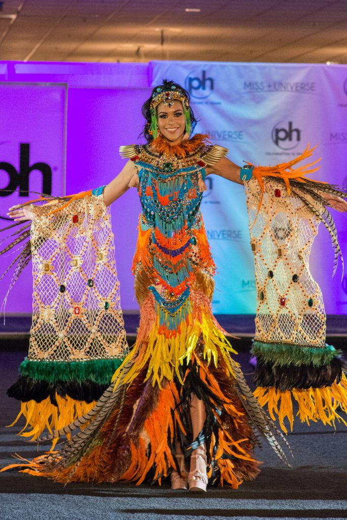 Lauriela Martins, Miss Angola 2017 debuts her National Costume on stage at Planet Hollywood Resort & Casino on November 18, 2017. The National Costume Show is an international tradition where contestants display an authentic costume of choice that best represents the culture of their home country. The Miss Universe contestants are touring, filming, rehearsing and preparing to compete for the Miss Universe crown in Las Vegas, NV. Tune in to the FOX telecast at 7:00 PM ET live/PT tape-delayed on Sunday, November 26, live from the AXIS at Planet Hollywood Resort & Casino in Las Vegas to see who will become the next Miss Universe. HO/The Miss Universe Organization