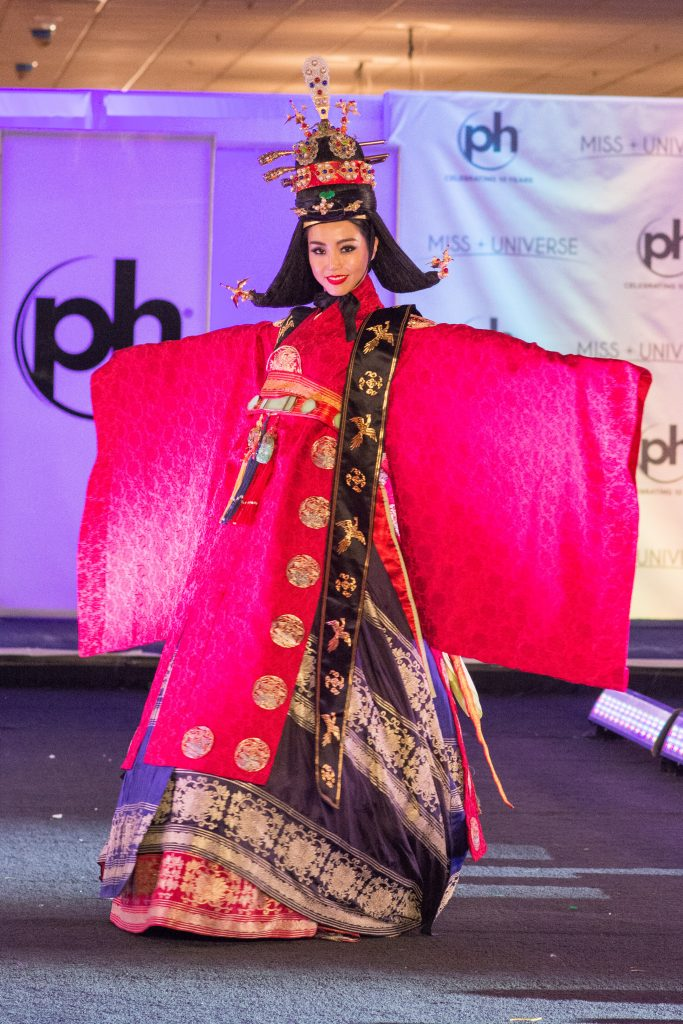 Cho SeWhee, Miss Korea 2017 debuts her National Costume on stage at Planet Hollywood Resort & Casino on November 18, 2017. The National Costume Show is an international tradition where contestants display an authentic costume of choice that best represents the culture of their home country. The Miss Universe contestants are touring, filming, rehearsing and preparing to compete for the Miss Universe crown in Las Vegas, NV. Tune in to the FOX telecast at 7:00 PM ET live/PT tape-delayed on Sunday, November 26, live from the AXIS at Planet Hollywood Resort & Casino in Las Vegas to see who will become the next Miss Universe. HO/The Miss Universe Organization