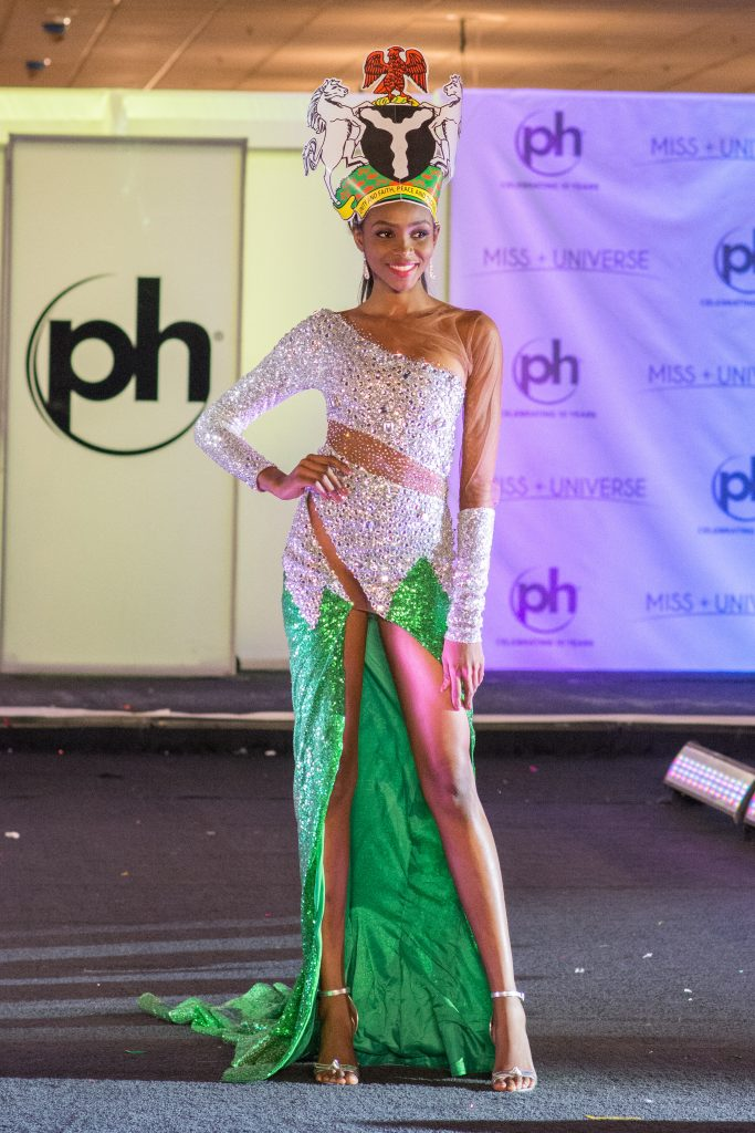 Stephanie Agbasi, Miss Nigeria 2017 debuts her National Costume on stage at Planet Hollywood Resort & Casino on November 18, 2017. The National Costume Show is an international tradition where contestants display an authentic costume of choice that best represents the culture of their home country. The Miss Universe contestants are touring, filming, rehearsing and preparing to compete for the Miss Universe crown in Las Vegas, NV. Tune in to the FOX telecast at 7:00 PM ET live/PT tape-delayed on Sunday, November 26, live from the AXIS at Planet Hollywood Resort & Casino in Las Vegas to see who will become the next Miss Universe. HO/The Miss Universe Organization