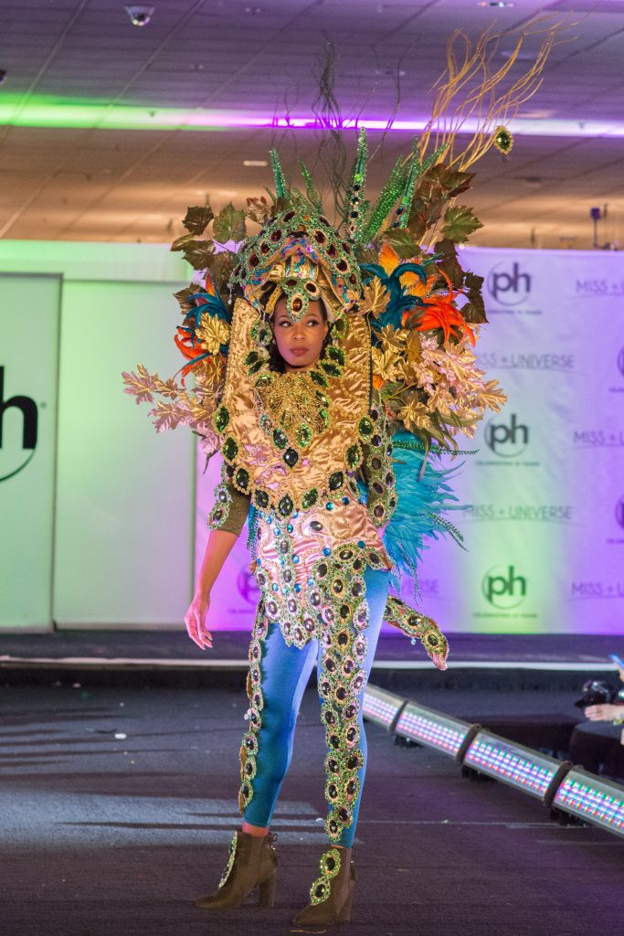 Louise Victor, Miss Saint Lucia 2017 debuts her National Costume on stage at Planet Hollywood Resort & Casino on November 18, 2017. The National Costume Show is an international tradition where contestants display an authentic costume of choice that best represents the culture of their home country. The Miss Universe contestants are touring, filming, rehearsing and preparing to compete for the Miss Universe crown in Las Vegas, NV. Tune in to the FOX telecast at 7:00 PM ET live/PT tape-delayed on Sunday, November 26, live from the AXIS at Planet Hollywood Resort & Casino in Las Vegas to see who will become the next Miss Universe. HO/The Miss Universe Organization