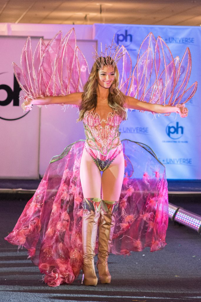 Demi-Leigh Nel-Peters, Miss South Africa 2017 debuts her National Costume on stage at Planet Hollywood Resort & Casino on November 18, 2017. The National Costume Show is an international tradition where contestants display an authentic costume of choice that best represents the culture of their home country. The Miss Universe contestants are touring, filming, rehearsing and preparing to compete for the Miss Universe crown in Las Vegas, NV. Tune in to the FOX telecast at 7:00 PM ET live/PT tape-delayed on Sunday, November 26, live from the AXIS at Planet Hollywood Resort & Casino in Las Vegas to see who will become the next Miss Universe. HO/The Miss Universe Organization