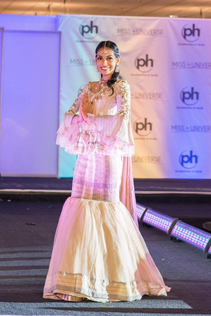Christina Peiris, Miss Sri Lanka 2017 debuts her National Costume on stage at Planet Hollywood Resort & Casino on November 18, 2017. The National Costume Show is an international tradition where contestants display an authentic costume of choice that best represents the culture of their home country. The Miss Universe contestants are touring, filming, rehearsing and preparing to compete for the Miss Universe crown in Las Vegas, NV. Tune in to the FOX telecast at 7:00 PM ET live/PT tape-delayed on Sunday, November 26, live from the AXIS at Planet Hollywood Resort & Casino in Las Vegas to see who will become the next Miss Universe. HO/The Miss Universe Organization