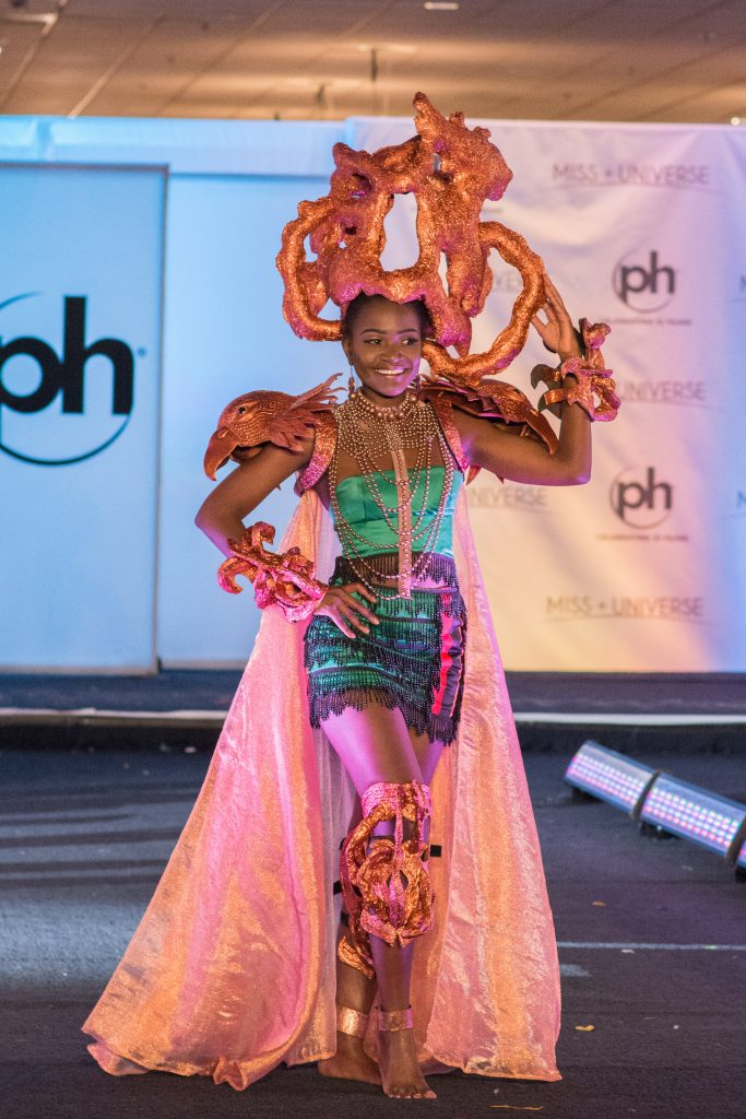 Isabel Chikoti, Miss Zambia 2017 debuts her National Costume on stage at Planet Hollywood Resort & Casino on November 18, 2017. The National Costume Show is an international tradition where contestants display an authentic costume of choice that best represents the culture of their home country. The Miss Universe contestants are touring, filming, rehearsing and preparing to compete for the Miss Universe crown in Las Vegas, NV. Tune in to the FOX telecast at 7:00 PM ET live/PT tape-delayed on Sunday, November 26, live from the AXIS at Planet Hollywood Resort & Casino in Las Vegas to see who will become the next Miss Universe. HO/The Miss Universe Organization