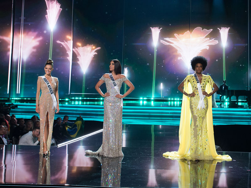 Demi-Leigh Nel-Peters, Miss Universe South Africa 2017; Laura González, Miss Universe Colombia 2017; and Davina Bennett, Miss Universe Jamaica 2017; on stage during the Top 3 Final Look segment of The MISS UNIVERSE® Competition airing on FOX at 7:00 PM ET live/PT tape-delayed on Sunday, November 26th from the AXIS at Planet Hollywood Resort & Casino in Las Vegas, NV. The contestants have spent the last few weeks touring, filming, rehearsing and preparing to compete for the Miss Universe crown in Las Vegas. HO/The Miss Universe Organization