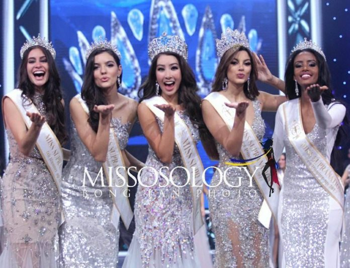 "Miss Supranational 2017 Miss Korea Jenny Kim, first runner-up Miss Colombia Martha ""Tica"" Martinez, second runner-up Miss Romania Bianca Tirsin, 3rd runner-up Miss Ethiopia Bitaniya Josef and 4th runner-up Miss Puerto Rico Larissa Santiago"