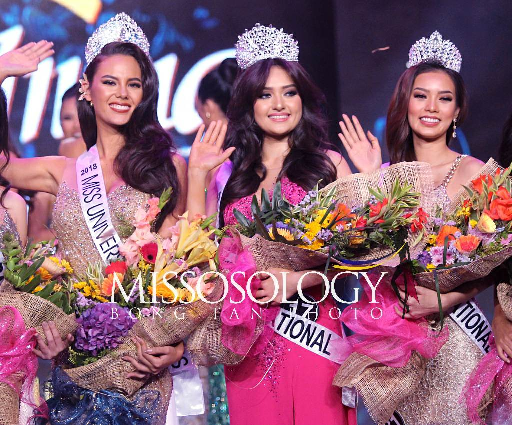 The Philippines' Big5 queens for 2018: Catriona Gray (for Miss Universe), Ma Ahtisa Manalo (for Miss International), and Jehza Huelar (for Miss Supranational)