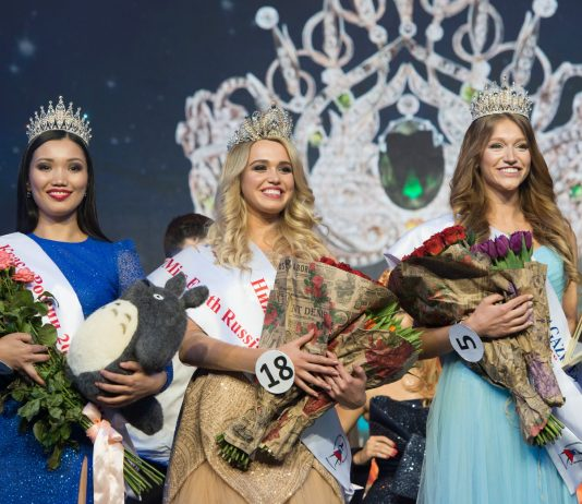 Miss Earth Russia 2018 Daria Kartyshova (center) with Krasa Rossii 2017 Alexandra Tsyrenova and Krasa Rossii 2018 Yana Voyt. (Photo by Artur Lebedev)