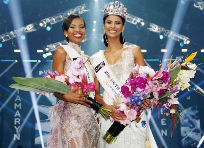 Tamaryn Green (right) will represent South Africa at Miss Universe while Thulisa Keyi (left) will compete at Miss World