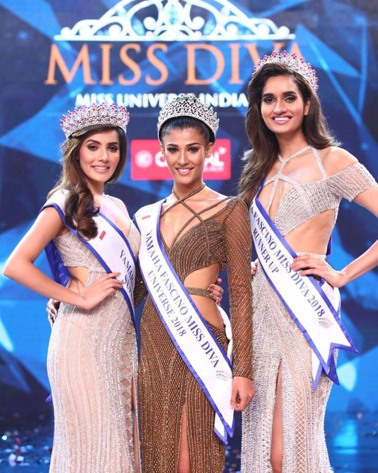 Nehal Chudasma (center) is the new Miss Universe India while Aditi Hundia (left) is Miss Supranational India 2018. Roshni Sheoran was named as the runner-up