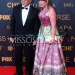 Former Governor Chavit SIngson with Miss Universe President Paula Shugart during the 65th Miss Universe red carpet